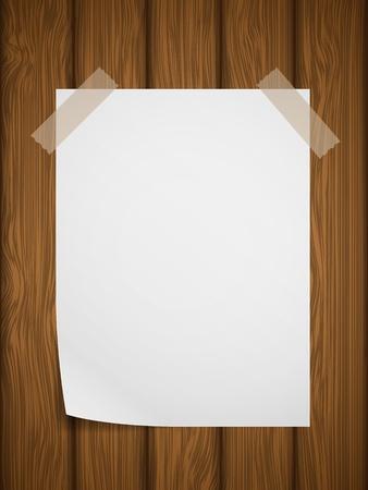 White paper on wooden background  illustration Stock Vector - 13237458