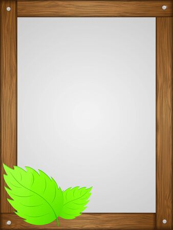 Wooden frame with green leaves  illustration