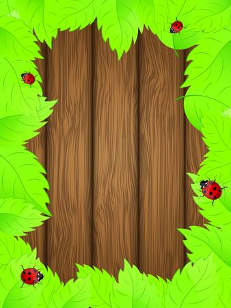 Wooden background with fresh green leaves illustration  Vector