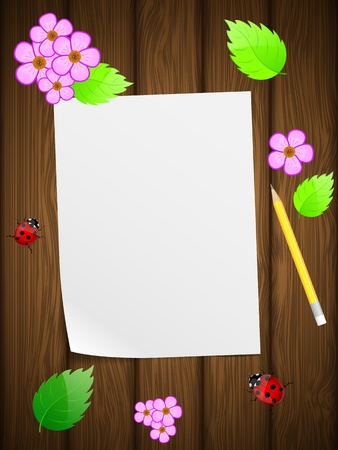 Blank paper on wooden background with flowers and ladybird Stock Vector - 13237506