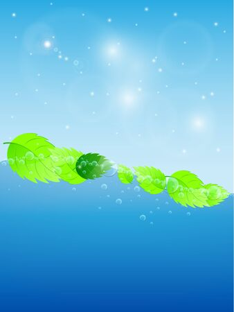 Blue water wave with fresh green leaves Illustration