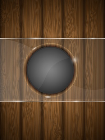 Wooden background with glass illustration  Vector