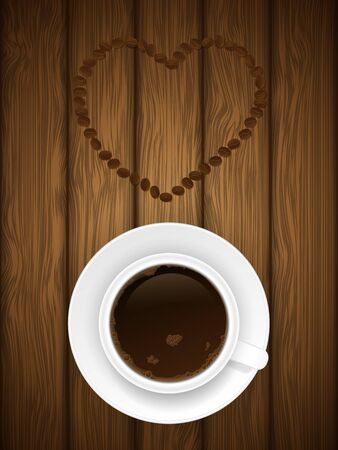 Coffe cup on wooden background illustration  Stock Vector - 13237560