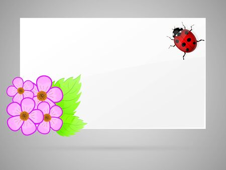 White paper with flowers and ladybird illustration  Vector