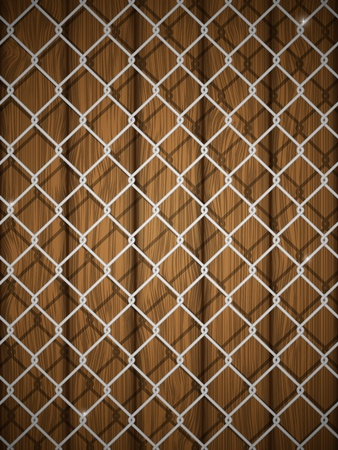 chain fence: Wooden texture with chain fence illustration