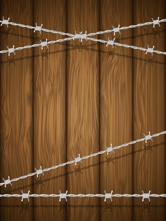 barbed wire frame: Wooden texture with barbed wire  Illustration  Illustration