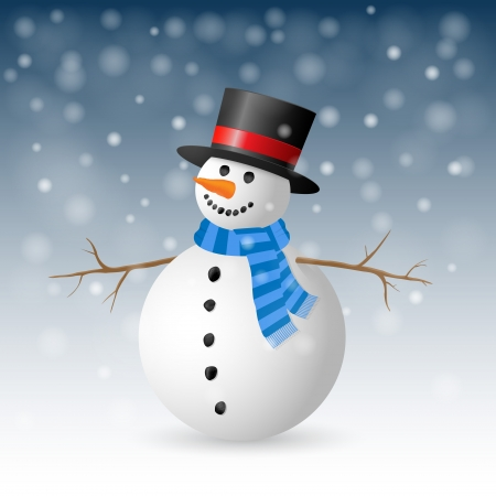 Christmas Greeting Card with snowman  Vector illustration