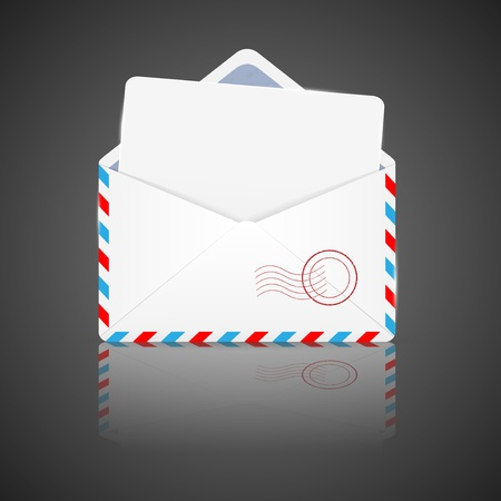 Open envelope with white paper   Illustration