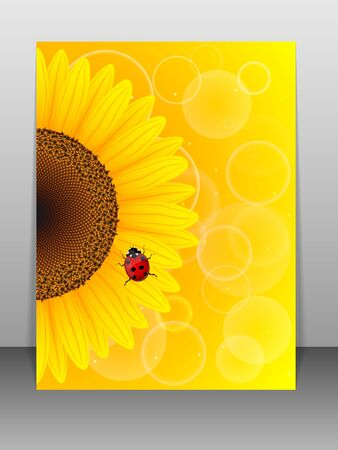 Sunflower and ladybird on yellow background   Vector