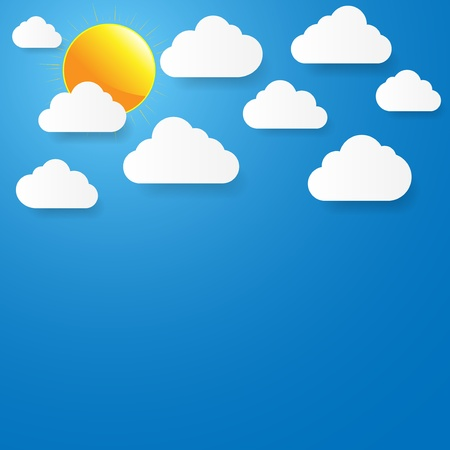 Blue sky with paper clouds and sun Stock Vector - 17610421