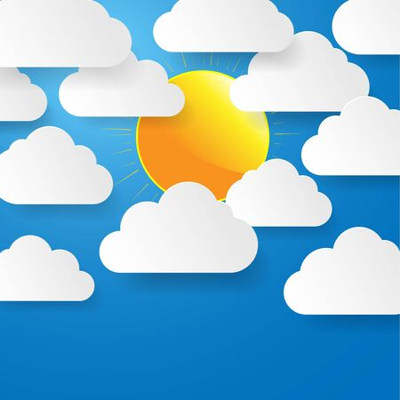 Blue sky with paper clouds and sun Stock Vector - 17610422