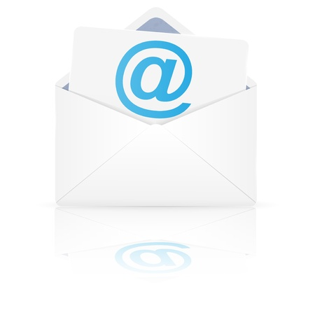 e new: Open envelope with email  Vector illustration