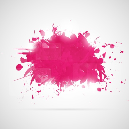 Abstract background with pink paint splashes  Illustration