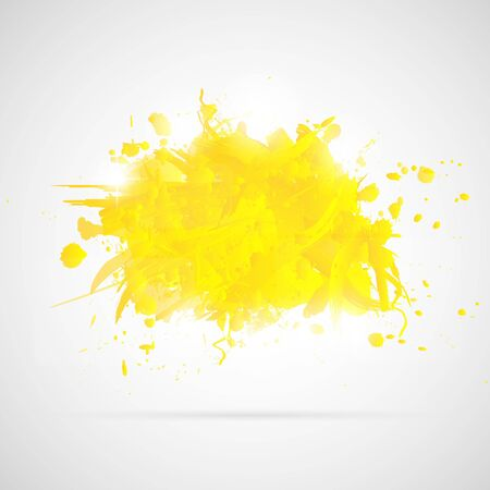 Abstract background with yellow paint splashes  Illustration