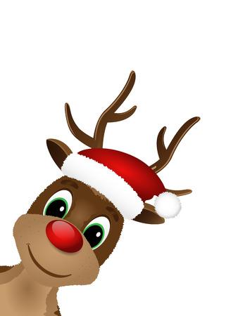 nariz roja: Reno con la nariz roja y sombrero de Santa. Ilustraci�n del vector.