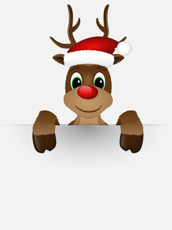 Reindeer with red nose and Santa hat. Illustration