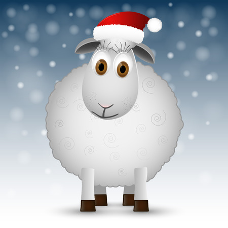 Background with Santa sheep. Illustration