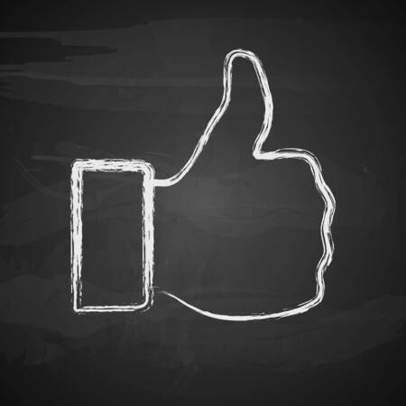 like button: Like symbol on black background. Vector illustration.