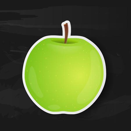 green apple isolated: Green apple isolated on black background. Vector illustration.