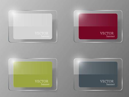 glass button: Glass set. illustration. Design template.