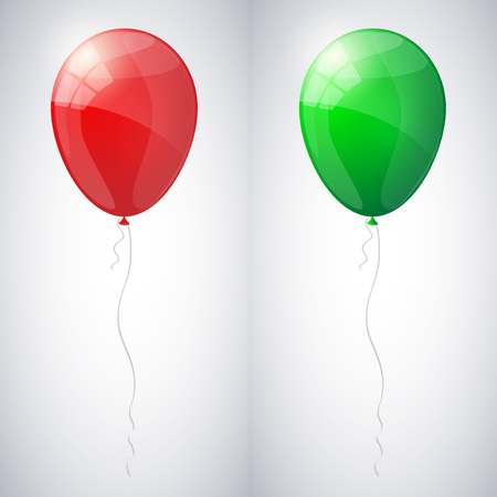 red balloons: Red and green shiny glossy balloons. Illustration