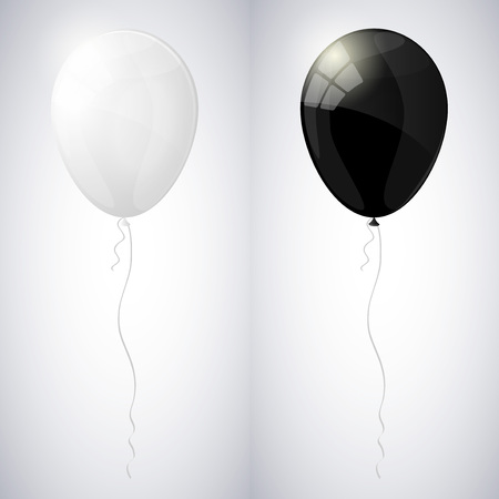White and black shiny glossy balloons.