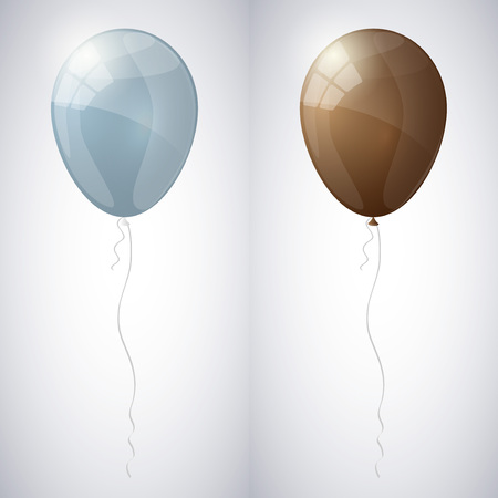 Blue-gray and brown shiny glossy balloons.
