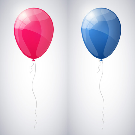 Pink and blue shiny glossy balloons.