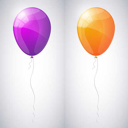 Violet and orange shiny glossy balloons.