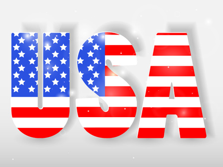 USA letters with flag background.