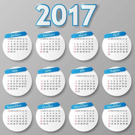 october calendar: 2017 diseño del año calendario. La semana comienza el domingo. Vectores