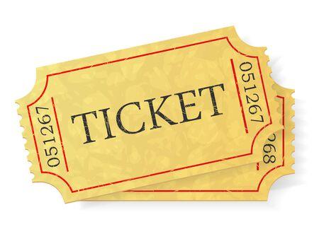 blockbuster: Vintage admit one ticket isolated on white background.