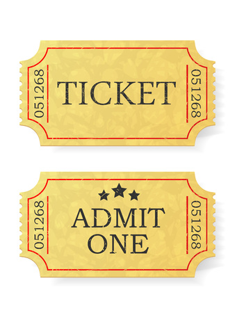 admit: Vintage admit one ticket isolated on white background.