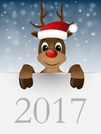 red nose: Reindeer with red nose and Santa hat. Vector illustration.