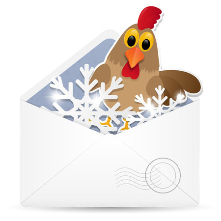 Open envelope with rooster. Vector illustration. Eps 10