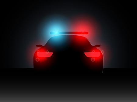 headlights: Police car in the dark with the included headlights. Vector illustration.