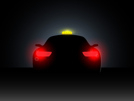 headlights: Taxi in the dark with the included headlights. Vector illustration. Illustration
