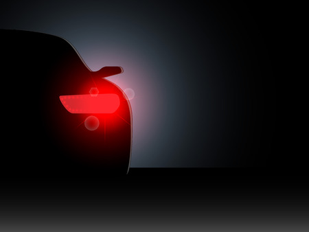 headlights: The car in the dark with the included headlights. Vector illustration.