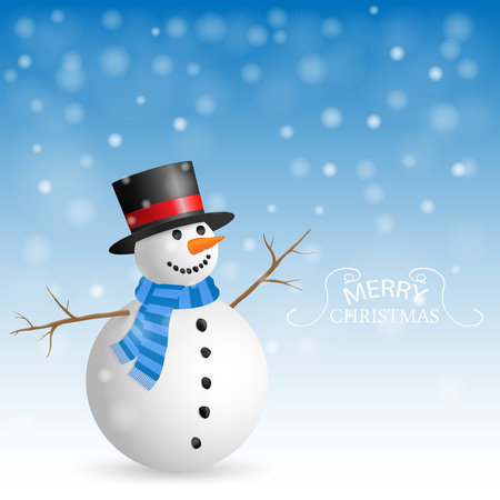 Christmas Greeting Card with snowman. Vector illustration. Illustration