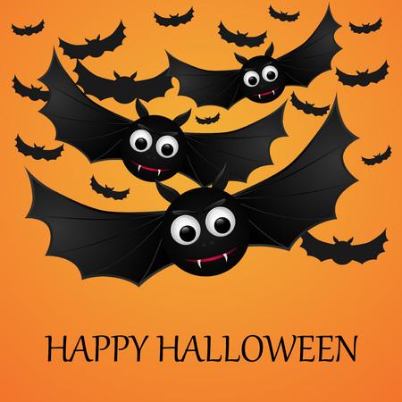 flying bats: Halloween orange background with flying bats. Vector illustration. Illustration