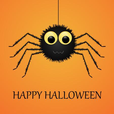 arachnid: Happy Halloween orange background with spider. Vector illustration.