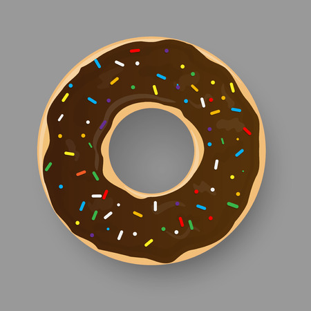 Donut with chocolate glaze isolated on grey background. Vector illustration.