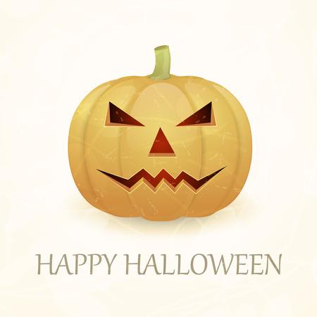 Vintage Halloween background with pumpkin. Vector illustration.