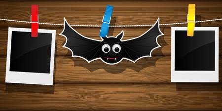 clothespeg: Halloween backdrop with flying bat and blank photo frame. Vector illustration. Illustration