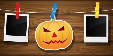 hallowen: Hallowen background with pumpkin and blank photo frame. Vector illustration.