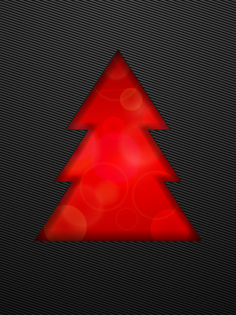 Creative Christmas tree. Red Christmas tree cut in black background. Vector illustration. Illustration