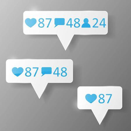 follower: Like, follower comment icons Vector illustration. Eps 10 Illustration