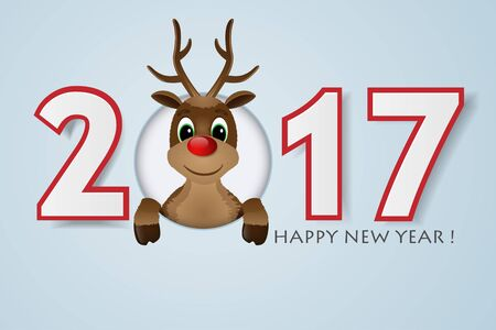 red nose: 2017 Happy New Year background. Reindeer with red nose. Vector illustration. Illustration