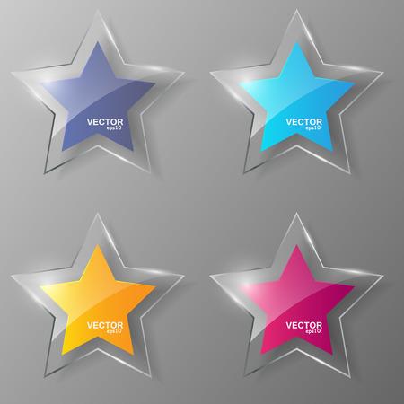Glass stars set. Illustration