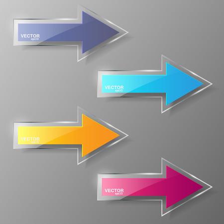 Glass arrows set. Illustration